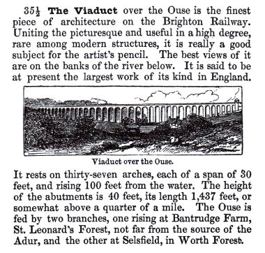 "~1846: ""The Viaduct over the Ouse"", ""Railway Chronicle Travelling Chart or Iron Road Book"", ""London-Brighton"", James Holmes"