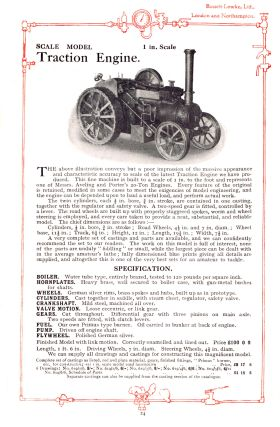"1929: Bassett-Lowke's previous model, a one-inch-scale (1:12) Aveing-Porter traction engine model. This earlier model, described by B-L as ""imposing"" was simply too big, heavy and unwieldy for most customers, and the 3/4"", 1:16 model that replaced it was much more successful."