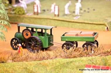 Traction engine, near the layout's bowling green
