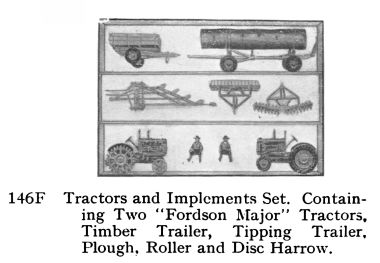 Britains 146F Tractors and Implements Set, including two Fordson Major E27N Tractors