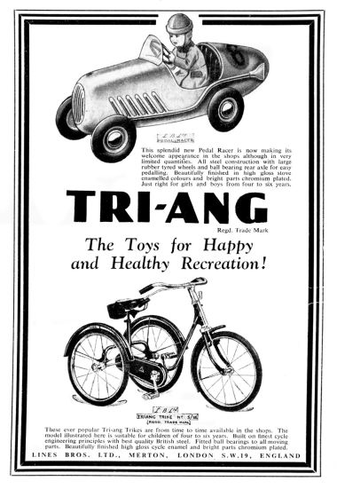 1948: Triang - The Toys for Healthy and Happy Recreation, Pedal Racer and Tricycle