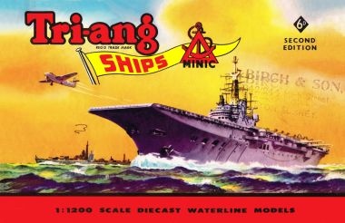 1960: Aircraft carrier artwork, on the cover of the Triang Minic Ships catalogue, second edition