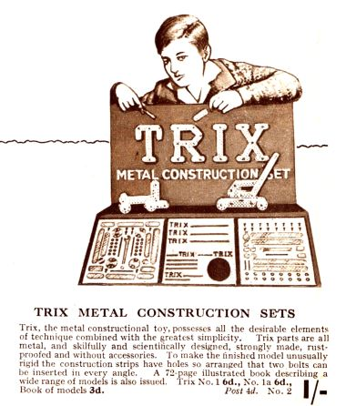 1932: Trix metal construction set advert (Gamages catalogue)