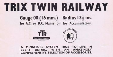 Trix Twin Railways, basic system specifications