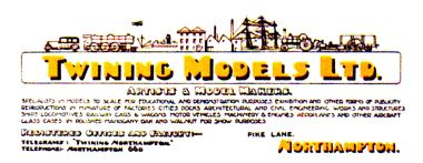 Twining Models Ltd., Pike Lane, Northampton, company slip