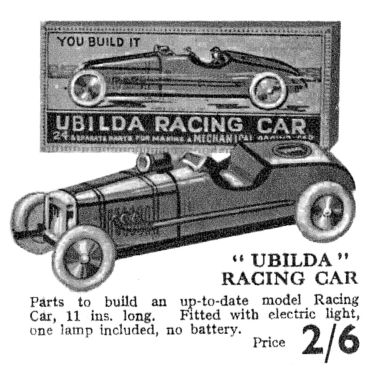 1932: Ubilda Racing Car catalogue listing