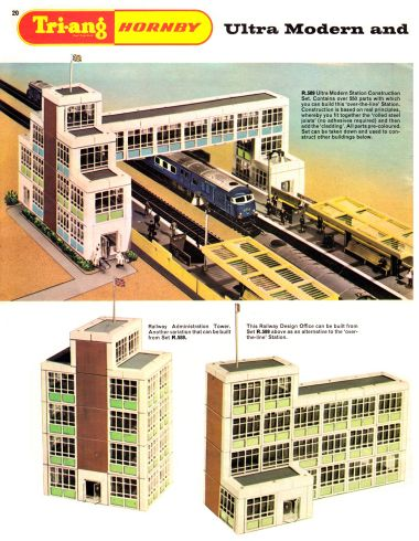 1966: Tri-ang Hornby R.589 Ultra-Modern Station Construction Set. An attempt to repurpose the Arkitex system, with Tri-ang Hornby branding.