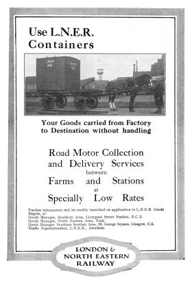 1928: LNER container advert, with horse and cart