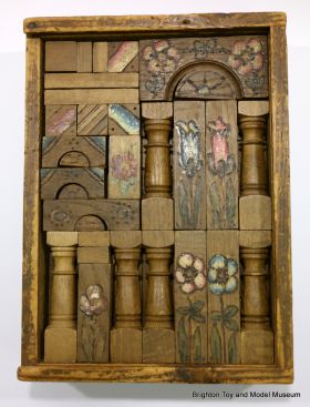 Victorian turned wooden building blocks