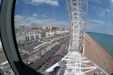 View of Brighton seafront, from the Brighton Wheel, looking East, with shadow (June 2014