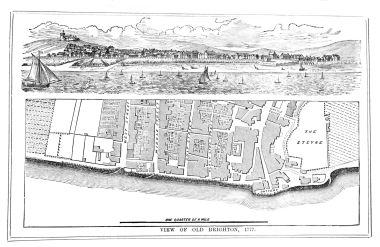1777: Street plan of the seaward side of Old Brighton. Note the battery gun emplacement near the Steyne, to defend against invaders