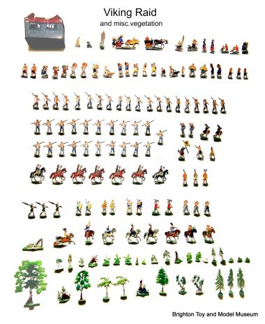 Viking raid lead figures. Some of the trees and foliage at the bottom of the picture might belong to the set, some might belong to other sets