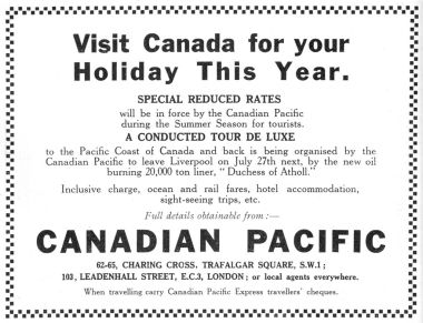 "1928: ""Visit Canada for your holiday this year"""