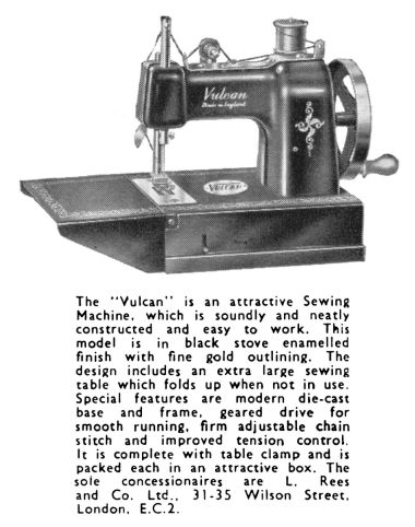 "1955: The second main unnamed version of the Vulcan sewing machine, generally referred to as the ""Featherweight"")"