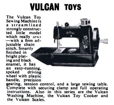 "1955: Vulcan Toys, cropped from a full-page ""L Rees and Co Ltd trade advert"