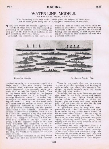 1928: Hobbs encyclopedia article on waterline ship models