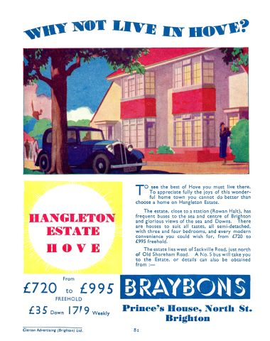 "1936: ""Why Not Live In Hove?"", Hangleton Estate, Braybons estate agents"