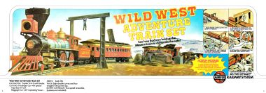 "alt=1976: Wild West Adventure Train Set 54051, ""See how Badmen hold up the Western train to dynamite the safe!""  ACTION MODULE * Overhead Gantry * Log Cabin Detonator * Four moveable Bandits plus two additional Cowboys * Rock with hidden trigger feature"