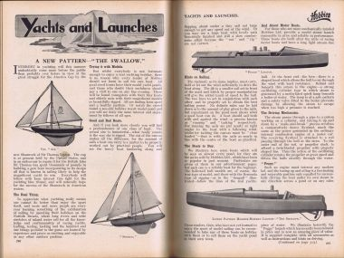 "1930: Hobbies Yachts and Launches, Hobbies Weekly, showing ""Peggy"" and ""Swallow"""