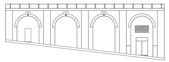 Lineart diagram of the front of Brighton Toy and Model Museum