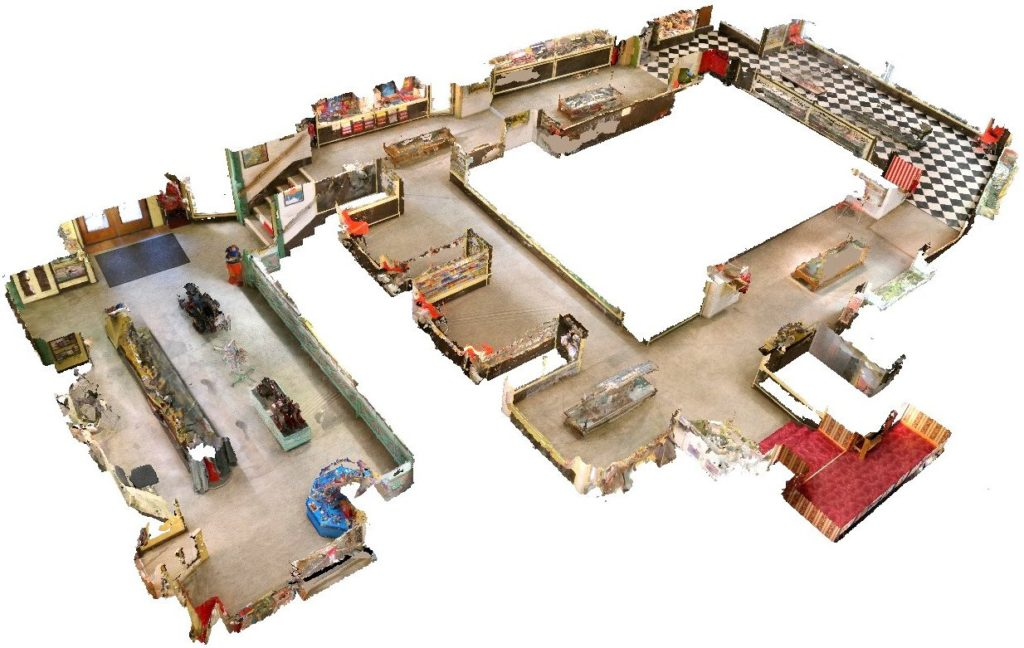 Floorplan layout for public areas, Brighton Toy and Model Museum. 3D photogrammetric computer-generated model, Eric Baird, 2019